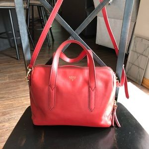 Fossil red satchel purse